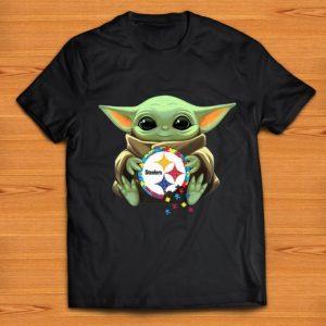 Hot Star Wars Baby Yoda Hug Pittsburgh Steelers Autism shirt