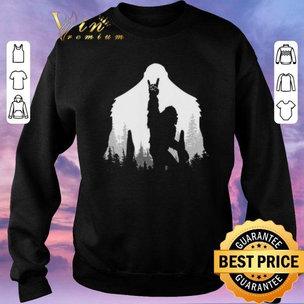 Nice Bigfoot Rock and Roll hand sign natural shirt sweater