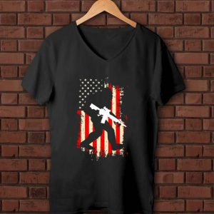 Nice Bigfoot hold gun Veteran America flag shirt