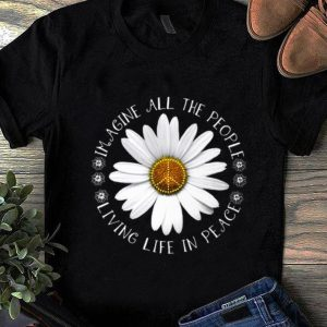 Official Hippie Flower imagine all the people living life in peace shirt