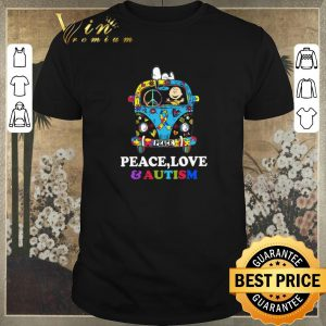 Official Snoopy And Charlie Brown Peace Love Autism Awareness Hippie bus shirt sweater