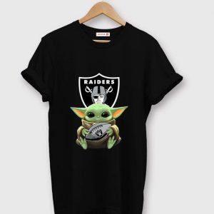 Pretty Star Wars Football Baby Yoda Hug Oakland Raiders shirt
