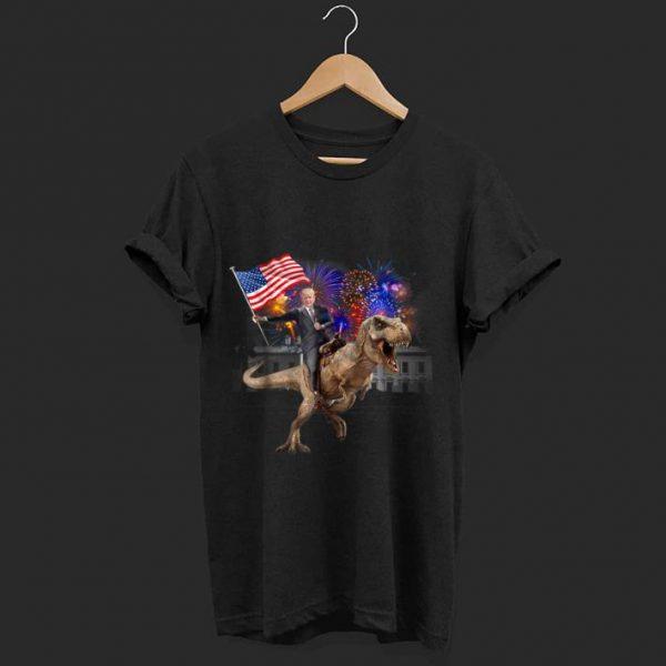 Awesome Trump Riding a Dinosaur T-rex Fireworks American Flag shirt