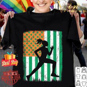 Female Runner Irish American Flag St Patrick's Day Running shirt
