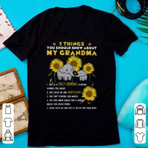 Premium Elephant Sunflower 5 Things You Should Know About My Grandma shirt