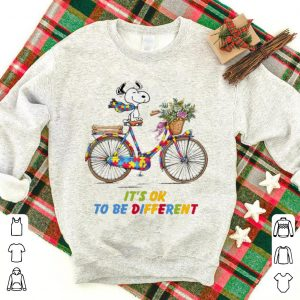 Top Snoopy Riding Bike It's Ok To Be Different Autism shirt