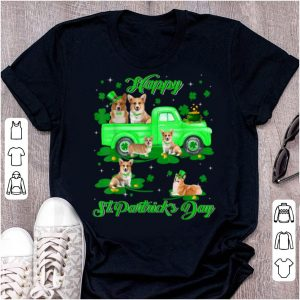 Great Leprechaun Corgi Riding Green Truck St Patrick's Day Gifts shirt