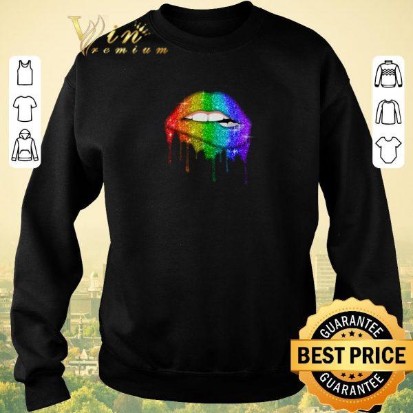 Pretty Glitter Lips Pride Gay Lesbian Transgender LGBT Colors shirt sweater