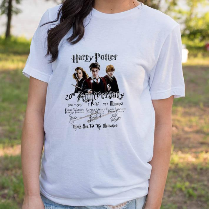 Funny Harry Potter 20th Anniversary 2001 2021 7 Parts 1179 Minutes Thank You For The Memories Signatures tshirt sweater