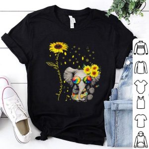 Elephant Autism awareness here comes the sun sunflowers shirt