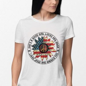 Flower peace sign she's a good girl loves her mama loves Jesus and America flag shirt 2
