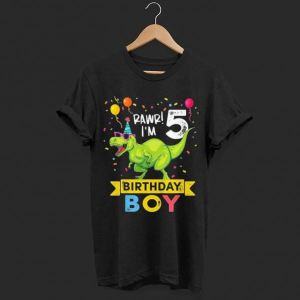 Kids 5 Year Old Birthday Boy T Rex Dinosaur shirt