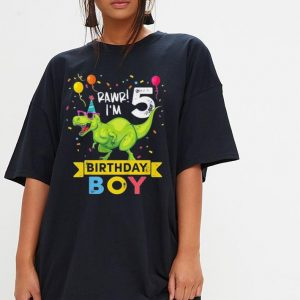 Kids 5 Year Old Birthday Boy T Rex Dinosaur shirt 2
