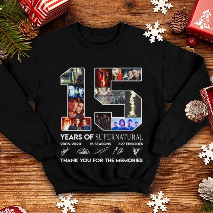 15 years of Supernatural 2005 2020 15 seasons 327 episodes thank shirt 4 - 15 years of Supernatural 2005-2020 15 seasons 327 episodes thank shirt