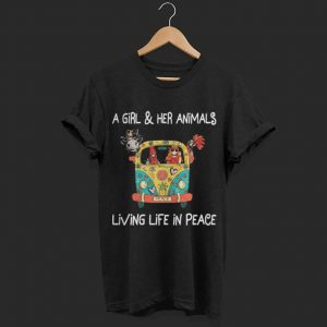 Hippie a girl and her animals living life in peace shirt