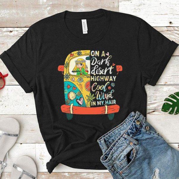 Hippie bus girl on a dark desert highway cool wind in my hair shirt