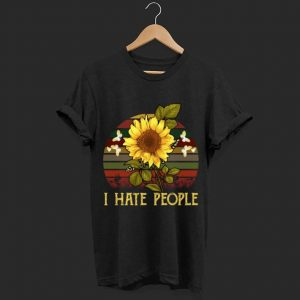 Sunflower I hate people retro sunset shirt
