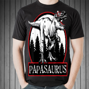 Papasaurus T-Rex Cool Dinosaur with Sunglasses shirt