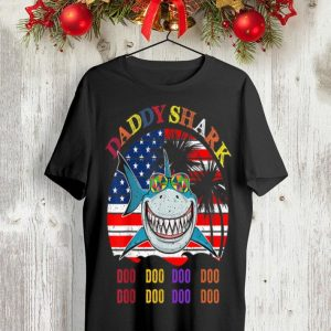 American Falg Father Day Daddy Shark doo doo doo doo shirt