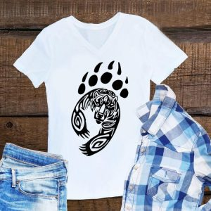 Bear Paw Print Tribal Grizzly Black Papa Momma Tribe Claw shirt