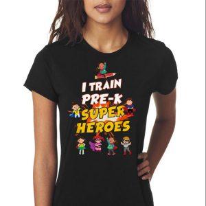 I Train Pre-k Super Heroes Teacher shirt 2