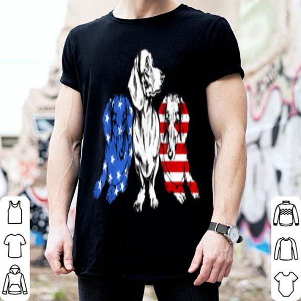 3 Dachshund American Flag 4th of July