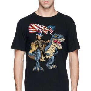 Ahbraham Lincoln Murica American Flag Ride T-rex 4th Of July Independence Day shirt
