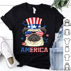 America Pug Dog Owner 4th of July USA Flag shirt