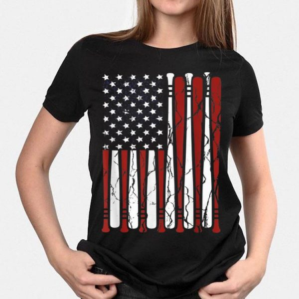American Flag Baseball Bat 4th Of July Independence Day shirt