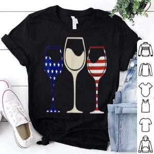 American Flag Wine Glasses Independence Day shirt