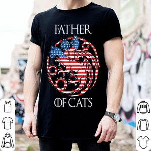 Cat Lover Father of Cats 4th of July American Flag shirt