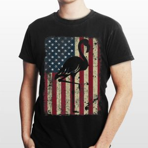 Flamingo 4th of july american flag shirt