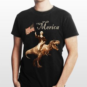 George Washington Riding a Tyrannosaurus Rex American Flag Independence Day shirt