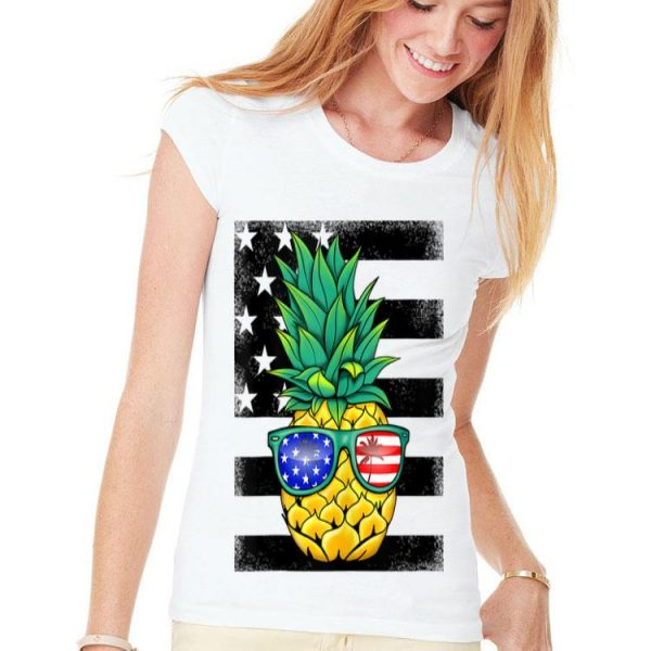 Hawaiian Pineapple American Flag Sunglasses 4th Of July shirt