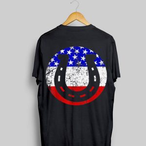 Horseshoe Retro Style Lucky Circel American Flag shirt