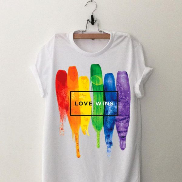 LGBT Love Wins Rainbow Paint Typographic shirt