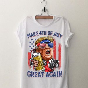 Make 4th of July Great Again Trump Drinking Beer American Flag