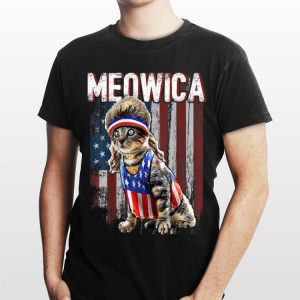 Meowica Cat Mullet American Flag Patriotic 4th Of July Independence Day shirt