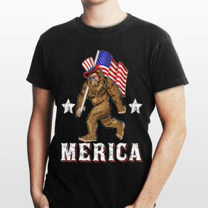 Merica Bigfoot 4th of July American Flag Sasquatch Independence Day shirt