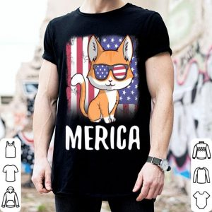 Merica Cat Patriotic USA Flag 4th of July shirt
