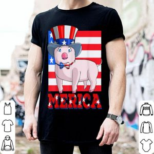 Pig American Flag Funny 4th of July USA Merica shirt