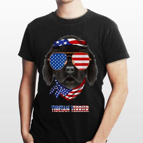 Tibetan Terrier Dog American Flag Sunglass shirt