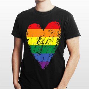 Vintage Rainbow Flag Colored Heart lgbt shirt