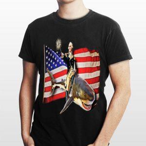 Washington Riding Shark 4th Of July American Flag Independence Day shirt