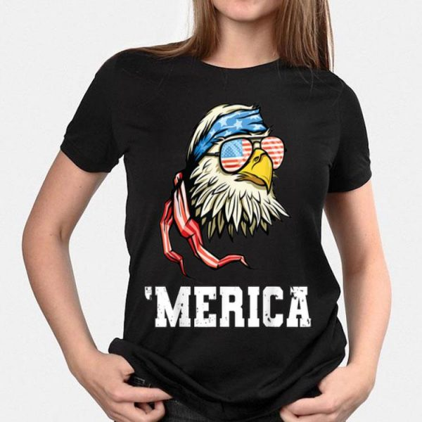 4th Of July Merica Patriotic USA Flag Bald Eagle With American Headband And Sunglass shirt