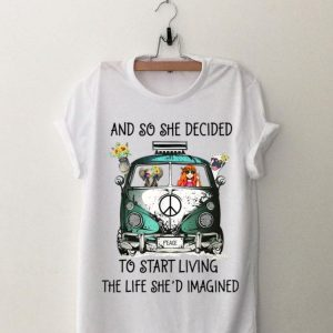 And So She Decided To Start Living The Life She Imagined Peace Hippie Bus Girl And Elephant shirt