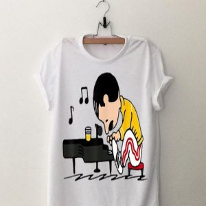 Freddie Mercury Peanuts Playing Piano And Dinking Wine shirt