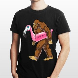 Pool Party Bigfoot Flamingo Sasquatch Pink Flowy shirt