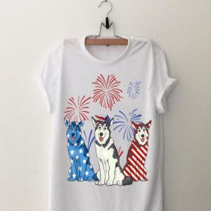 Red White Blue Husky USA Flag Firework 4th Of July Happy Independence Day shirt