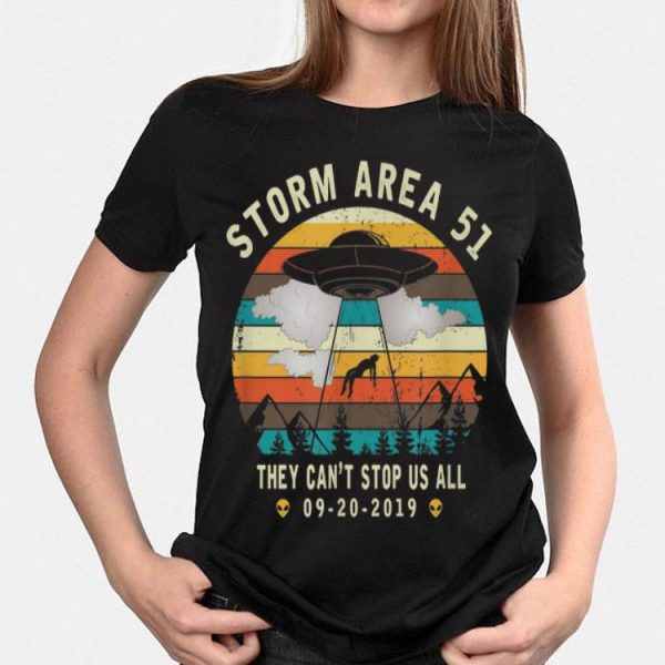 Storm Area 51-They Can't Stop Us All Vintage Alien shirt
